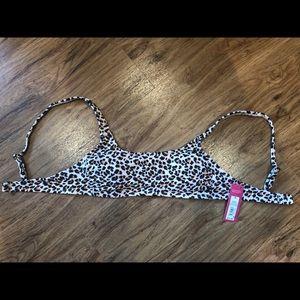 light pink leopard print swim top xhilaration M